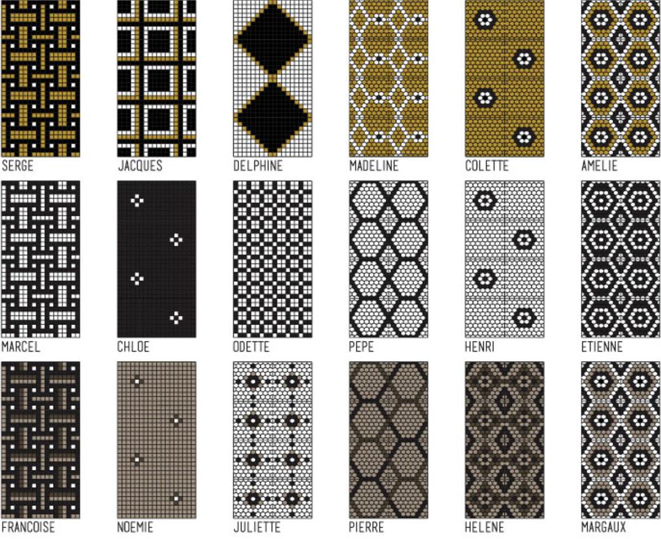 Sabine Hill & Studio K's Karen Herold - The Brasserie Collection of Cement Tiles, classic mosaic pattern tiles, restaurant tiles
