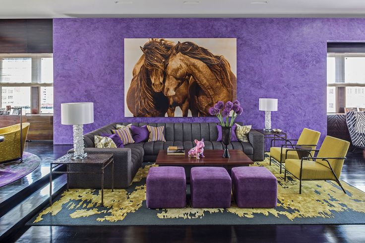 Drake/Anderson: Tribeca Residence - Apartment Living Room, Jamie Drake, Purple and Yellow Living Room, Vibrant Living Room Design Jamie Drake It's All About the Exceptional Jamie Drake Drake Anderson Tribeca Residence apartment living rooms living room sets