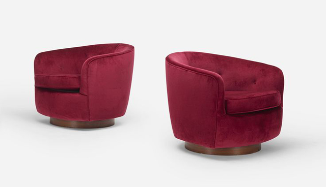 Pair of Modern Swivel Chairs, c. 1960, antique chairs, red velvet chairs luxury furniture Can Luxury Furniture Be as Good of An Investment as Traditional Art? Pair of Modern Swivel Chairs c