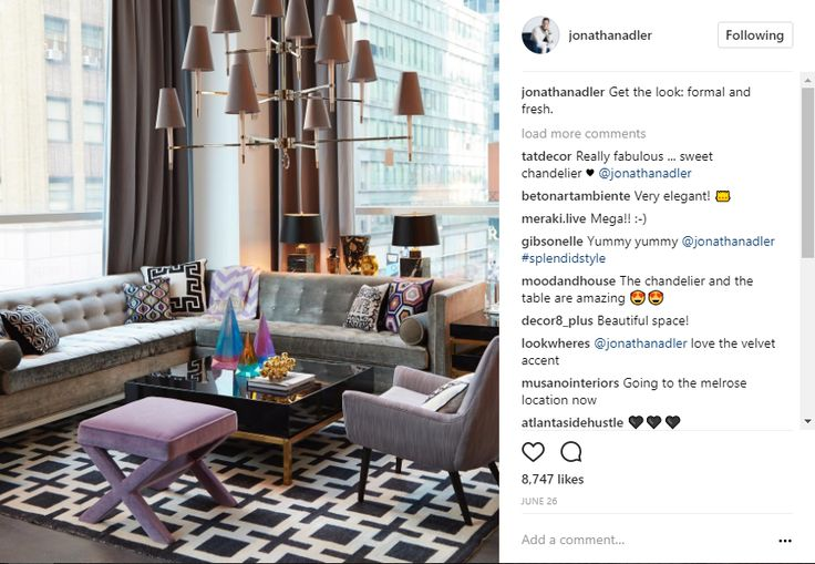 Formal and Fresh Living Room Design by Jonathan Adler, Instagram post, lilac and gray, black and gold interior design instagram 10 Popular Interior Design Instagram Inspirations a786dc6f015f19ccd7c8f0af18d101bb