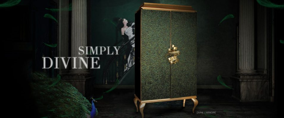 Divine Armoire by KOKET, feathered cabinet, feathered armoire, luxury furniture