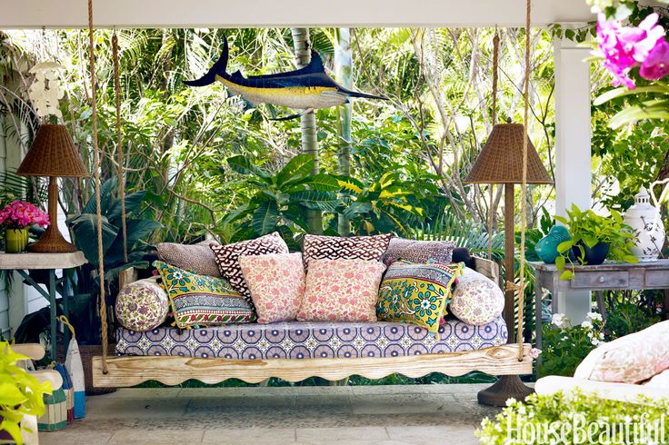 Outdoor Entertaining Ideas: Outdoor Swing Daybed. colorful textiles, floor lamps outdoor entertaining area 12 Fabulous Outdoor Entertaining Areas f395d231a23da10b77f3b5b9083d5782 palm beach house beautiful