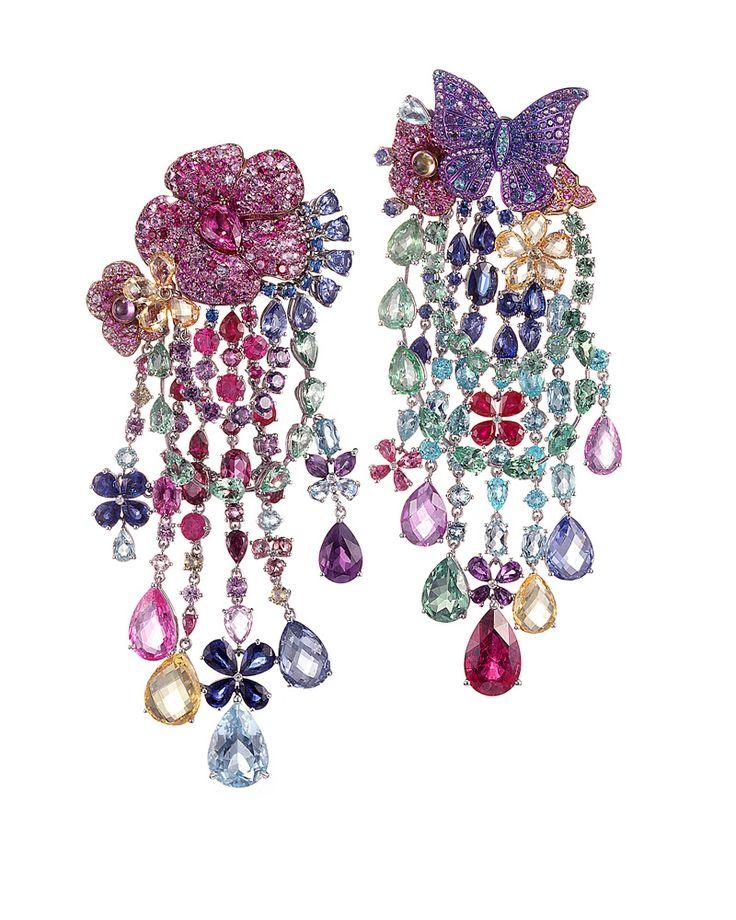 Rihanna Loves Chopard Joaillerie Earrings - Grammys 2017 - Haute Joaillerie Earrings - 59th grammy awards rihanna jewelry - colorful chandelier earrings - multi-colored earrings - limited edition jewelry