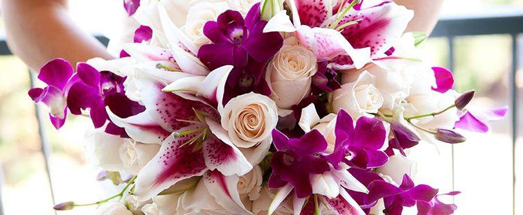 Orchid Bouquets, pink and white orchids, bridal bouquets, wedding