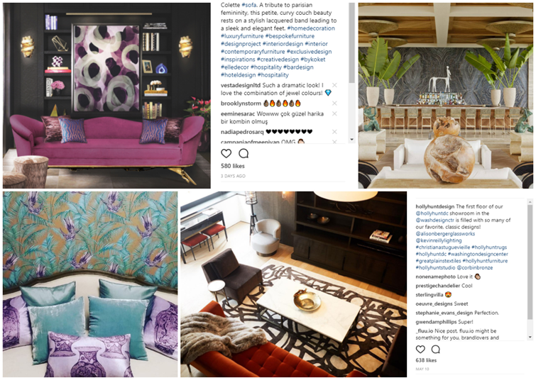 10 Popular Interior Design Instagram Posts from Love Happens by KOKET, colette sofa, tresor stool, chloe sconce, unique sconce, curved sofa, luxury furniture, kelly wearstler four seasons anguilla, lilac, aqua and gold textiles, holly hunt dc showroom, black, white and red living room