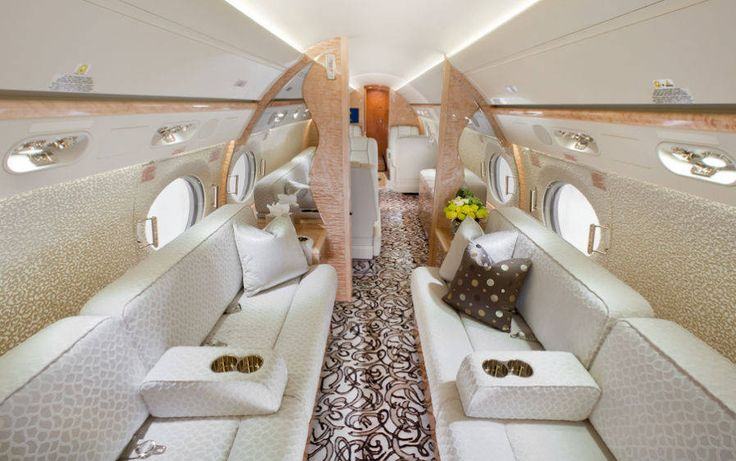 Luxury Private Jet Interior - Feminine jet interior - Elegant jet interior design