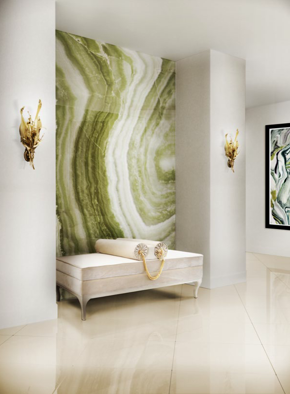 Luxury Foyer Design by KOKET - white and green foyer design - foyer bench - upholstered bench - furniture jewelry - brass floral sconces - nature inspired sconces - luxury furniture foyer design Looking for a Foyer Design That Will Dazzle and Delight? 2