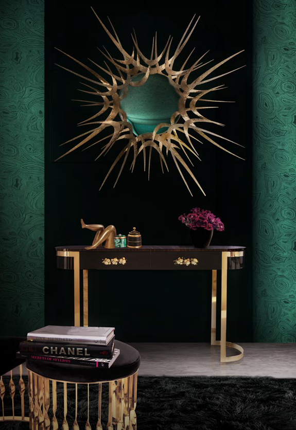 Dramatic Foyer Design by KOKET - sexy foyer design - green, black and gold - vintage inspired entry table - curved console table - gold sunburst mirror - orchid drawer pulls - demi-lune stools - brass stools - convex mirror - luxury furniture foyer design Looking for a Foyer Design That Will Dazzle and Delight? 4