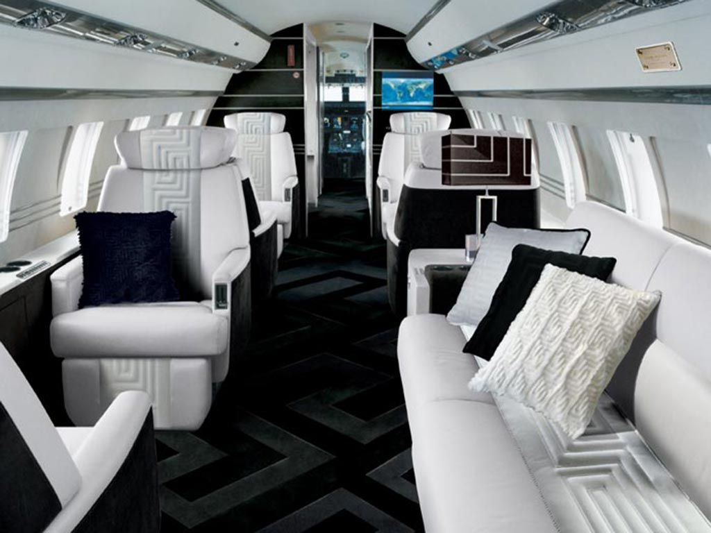 Luxury Private Jet Interiors - Gulfstream G550 - Versace private jet interior design