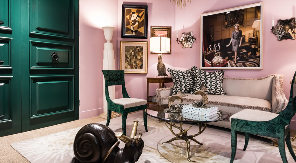 ADAC Vignette by Denise McGaha Interiors - Top Interior Designers - Texas - Pink and green living room Glamorous living rooms - luxury furniture