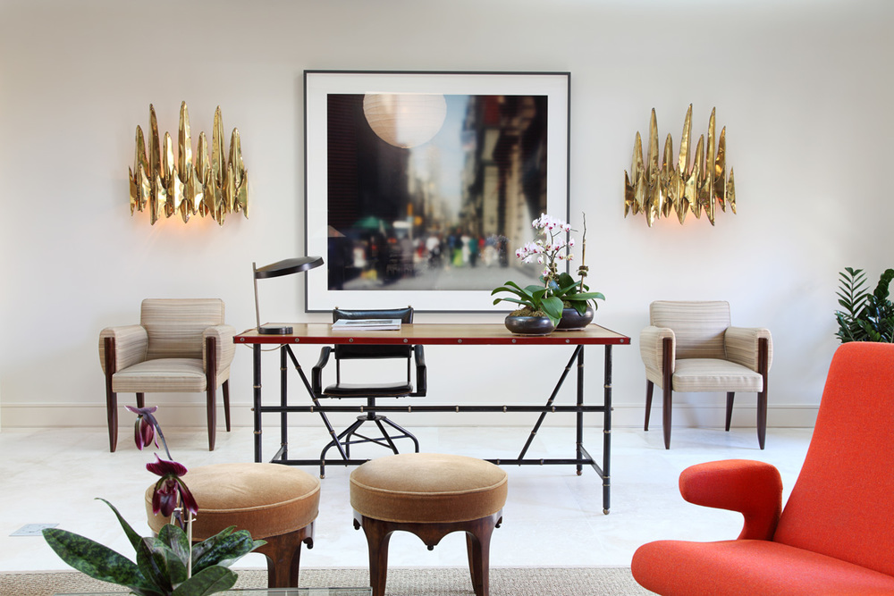 Top NYC Interior Designers - Alan Tanksley Inc - Office interior design - living room design - gold sconces - glamorous office design