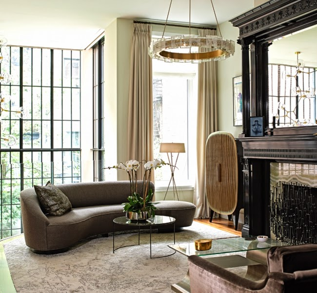 Top NYC Interior Designers - Bella Mancini Design - glamorous living room design - new york city interior designer - best interior designers in new york city, luxury furniture - brass and glass chandelier