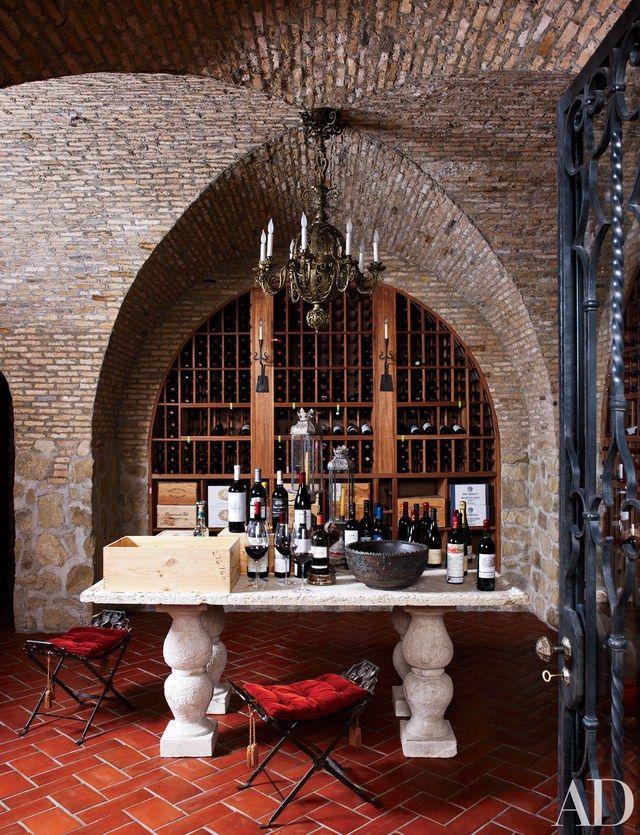 Brick wine room design in Los Angeles home interior design by Madeline Stuart