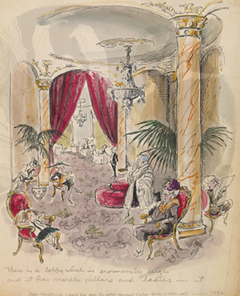"""Best Museum Exhibitions in NYC - Hilary Knight (b. 1926). Unpublished color concept rendering for """"There is a lobby which is enormously large . . . ,"""" ca. 1955. Eloise. New York: Simon & Schuster, 1955. Graphite, pen and ink and watercolor on paper. Collection of Hilary Knight. Copyright © by Kay Thompson - luxury furniture"""