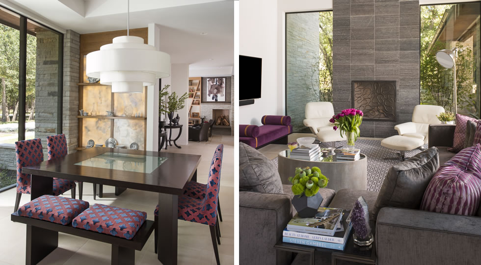 Denise McGaha Interiors - Top Interior Designers - Texas - Gray and purple living room - dining room