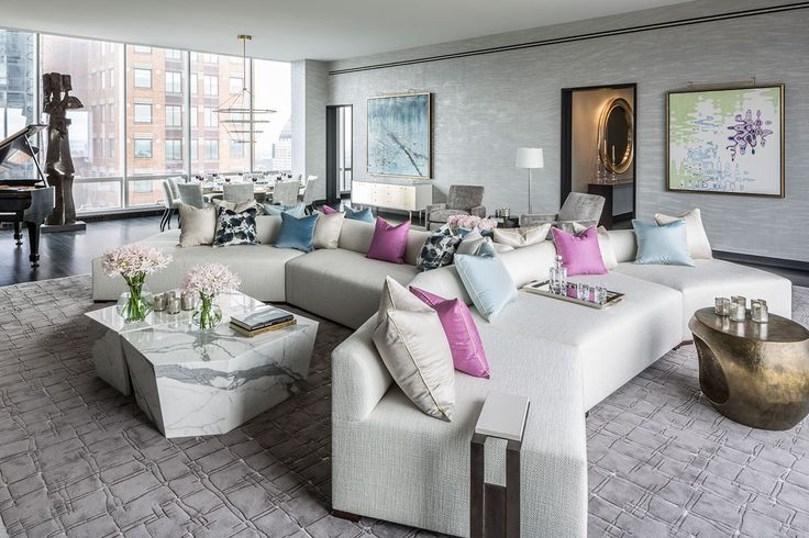 Top NYC Interior Designer - Drake-Anderson - One57 Model Apartment -pastel-living-room-blog-designs - luxury furniture