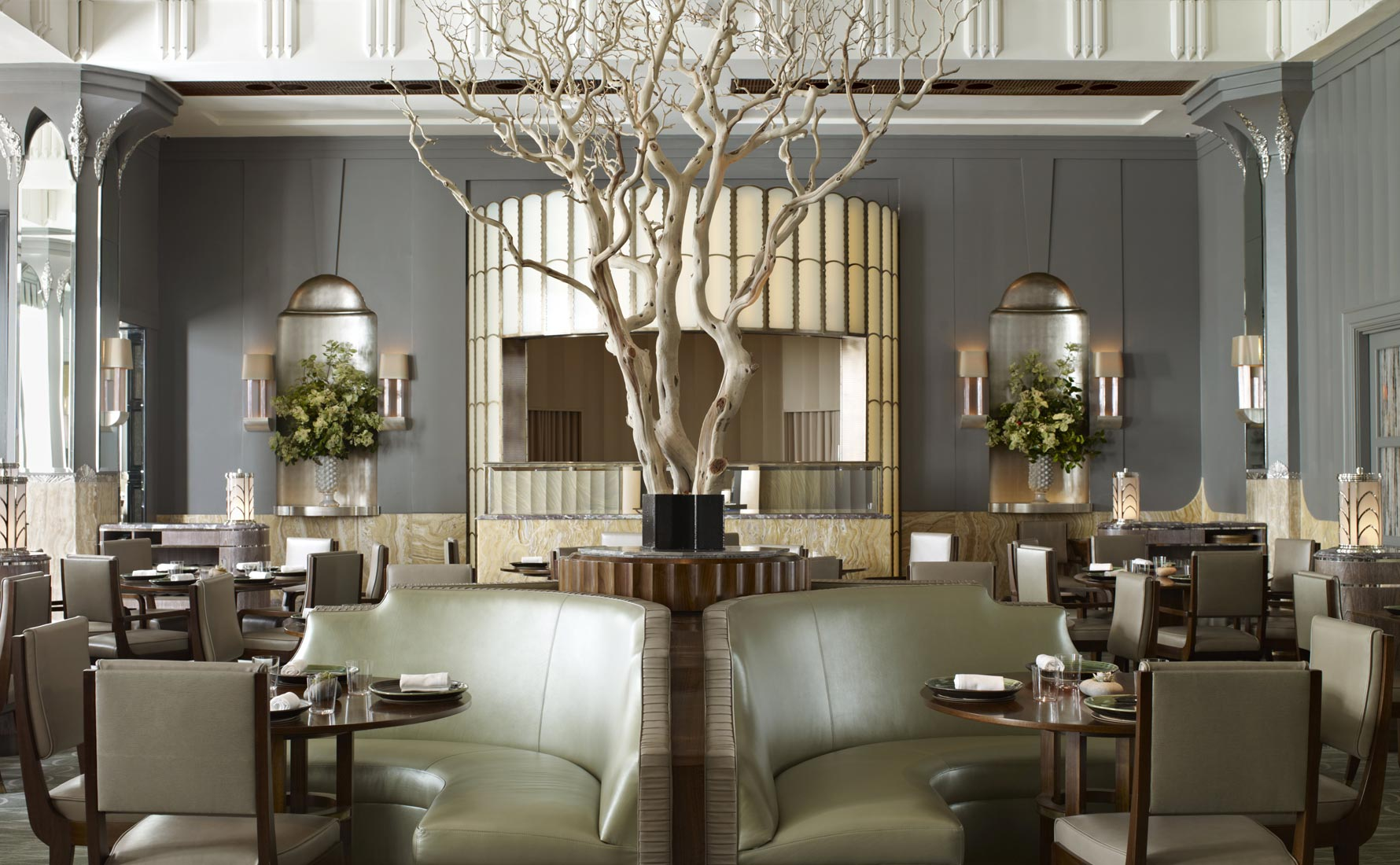 Best Restaurants in London - Top London Hotels - Fera at Claridge's restaurant - Interior Design by Guy Oliver, Oliver Laws - bespoke banquettes, tables and chairs by Ben Whistler - art deco contemporary - luxury furniture