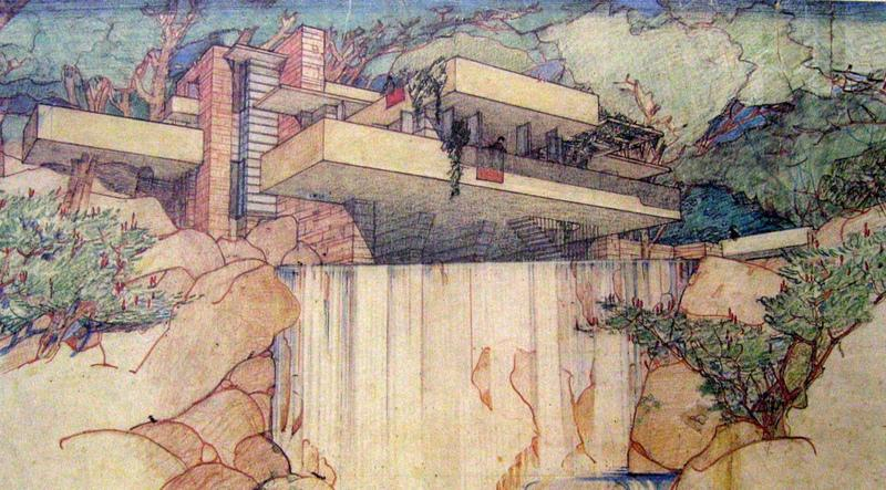 Museum Exhibitions in NYC - FRANK LLOYD WRIGHT AT 150: UNPACKING THE ARCHIVE Where: The Museum of Modern Art - Frank-Lloyd-Wright-Falling-Water-Drawing-Architecture-MoMA-Exhibit-NYC-001