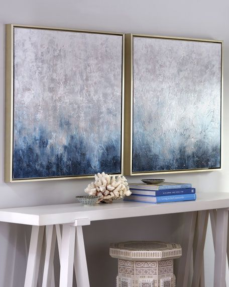 Horchow - Ombre Paintings 'Frost on Sapphire' Original Paintings, 2-Piece Set 625.00 ombre color At Home and In Fashion: The Forever Glamorous Ombre Color Trend Horchow Ombre Paintings Frost on Sapphire Original Paintings 2 Piece Set 625