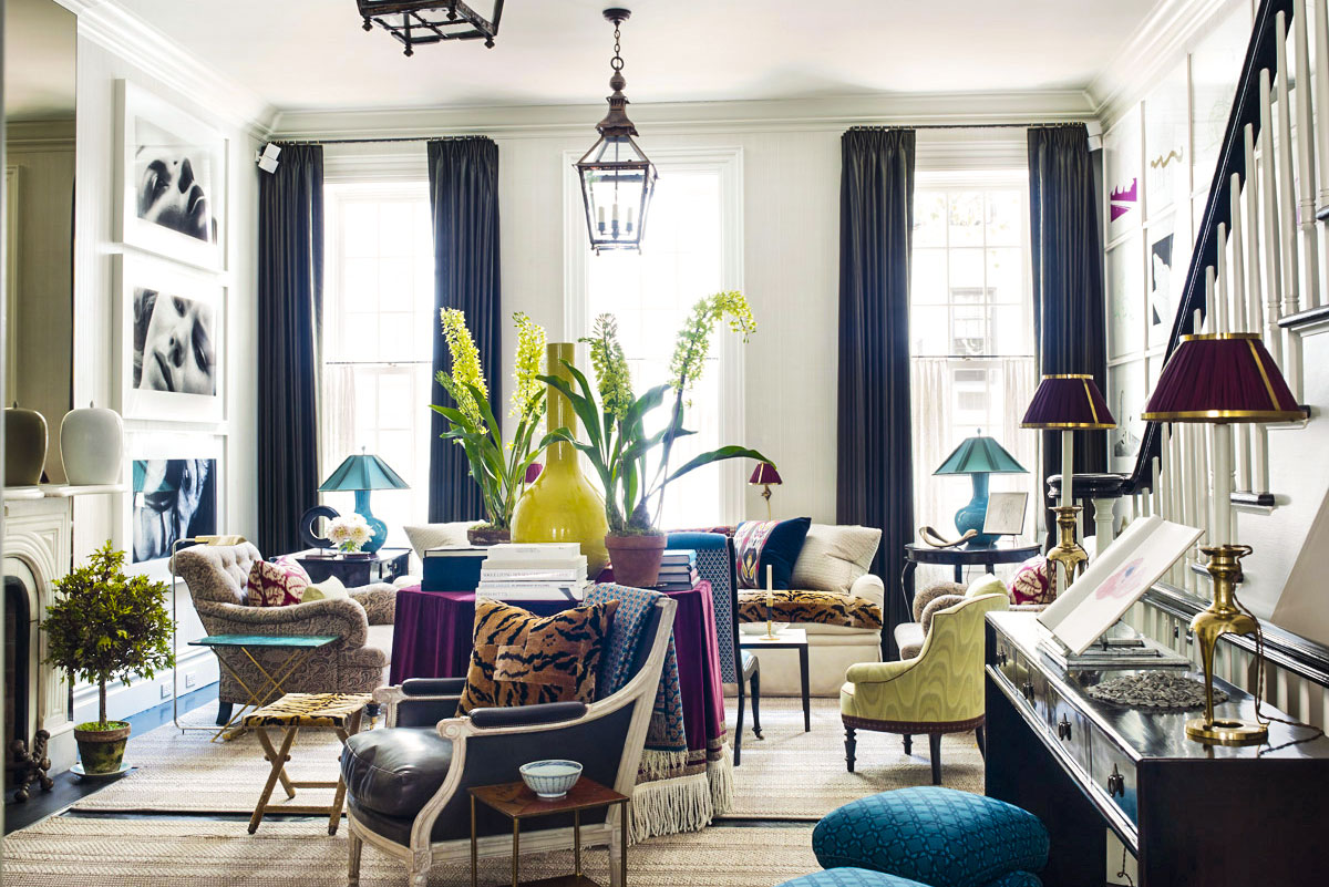 Top NYC Interior Designers - Jeffrey Bilhuber - Bilhuber & Associates - living room - great room - colorful accents - luxury furniture