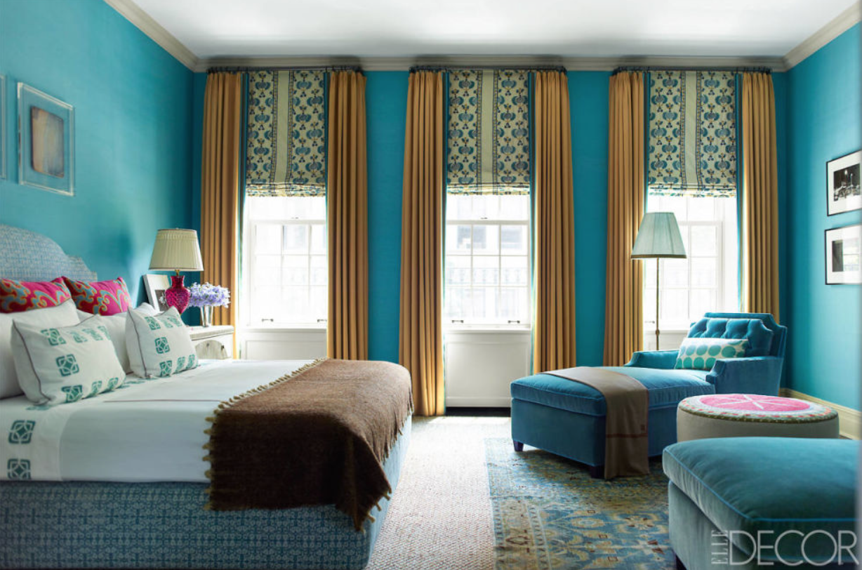 Top NYC Interior Designers Katie-Ridder-Elle-Decor - turquoise bedroom - luxury furniture