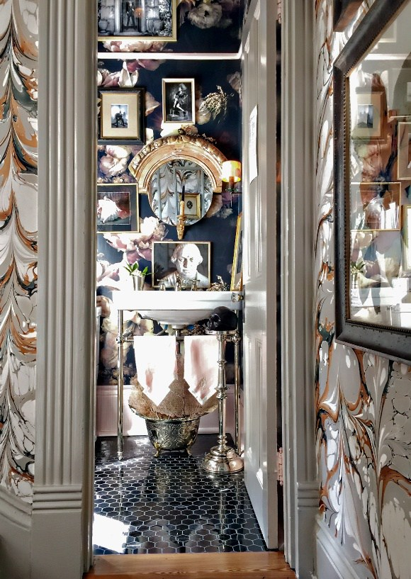 Luxurious Powder Rooms - Southern Style Now Showhouse - Denise McGaha Interiors - floral wallpaper Ashley Woodson Bailey - curated art Brownlee Currey - top interior designers