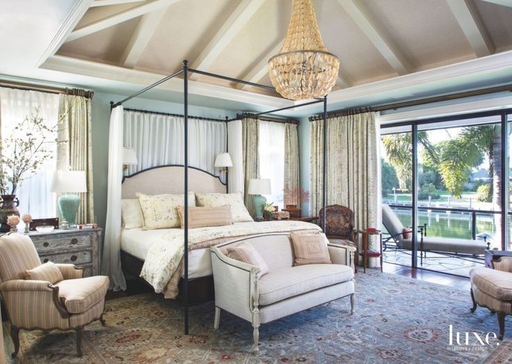 Luxury Bedroom Ideas - Interior design by Joseph Minton and Paula Lowes - Glamorous bedrooms - luxury beds - steel beams - key largo home