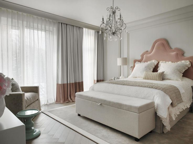 Luxury Bedroom Ideas - Interior design by Kelly Hoppen - Top interior designers - dusty rose - gray - pink - glamorous bedrooms - luxury beds
