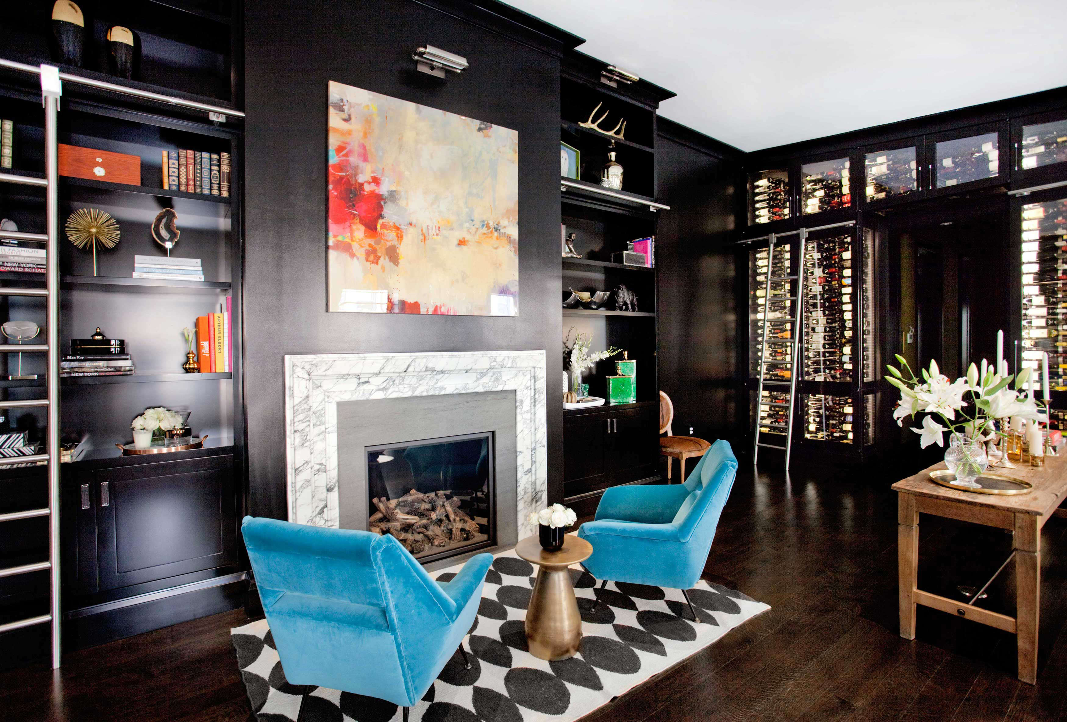 Top NYC Interior Designers - Nicole Fuller Interiors - East-Village-apartment-new-york-designer-living-room-wine-storage-black - luxury furniture