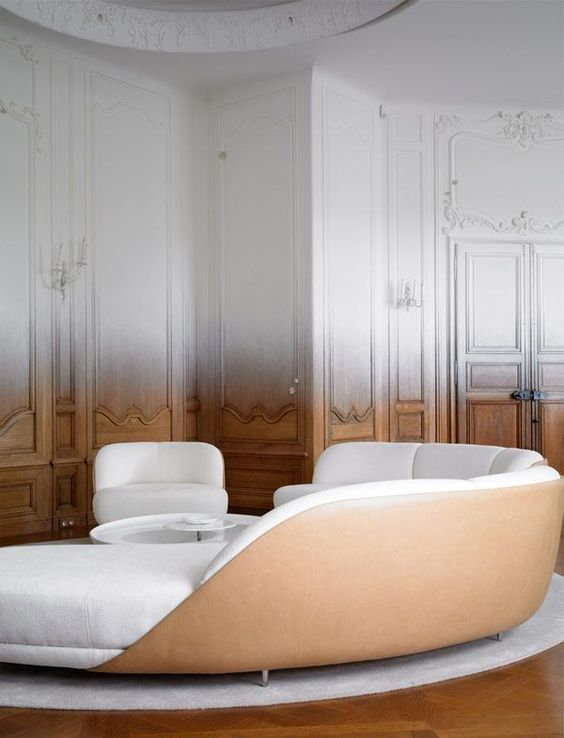 Ombre Wood Paneled Walls - Interior design by RF Studios, Ramy Fischler - Wood to white ombre - ombre color ombre color At Home and In Fashion: The Forever Glamorous Ombre Color Trend Ombre Wood Paneled Walls Interior design by RF Studios Ramy Fischler Wood to white ombre