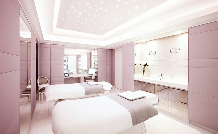 Relaxation and Rejuvenation Meet Haute Couture at a Paris Spa - Dior Institut - Hotel Plaza Athenee - Couples Treatment Room - Glamorous Spa Design