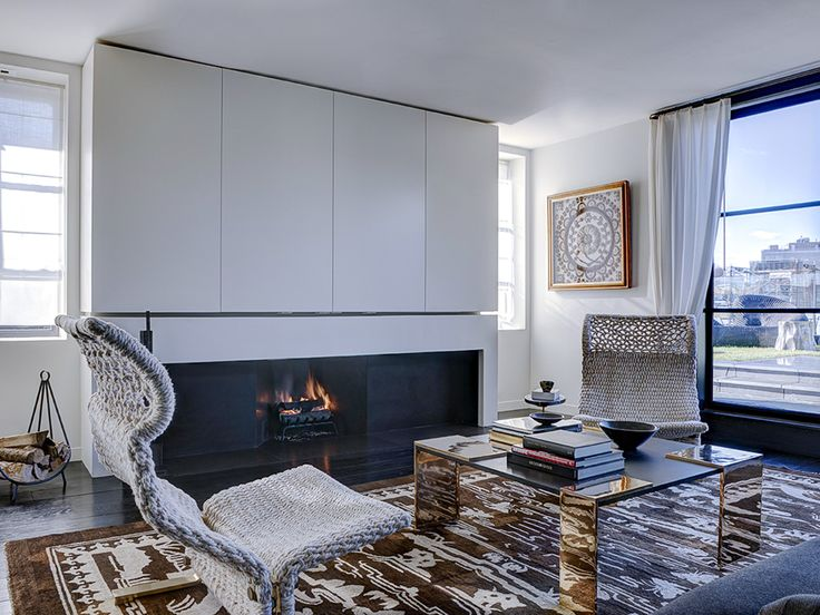 Soho Duplex Interior Design by Kara Mann - Apartment Fire Places - Manhattan Apartment Interior Design top interior designers Top Interior Designers: Kara Mann Design Soho Duplex Interior Design by Kara Mann Apartment Fire Places Manhattan Apartment Interior Design