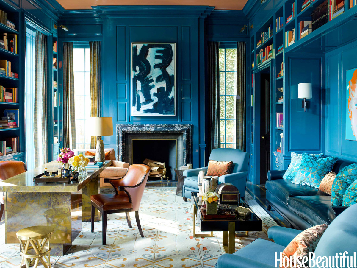 Top NYC Interior Desingers - S.R. Gambrel - Steven Gambrel - teal blue office living room