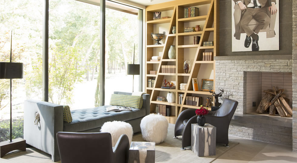 Triple Crown Project by Denise McGaha Interiors - Glamorous living rooms - bookcase design ideas - luxury upholstered daybeds - Image: Piassick Photography - luxury furniture