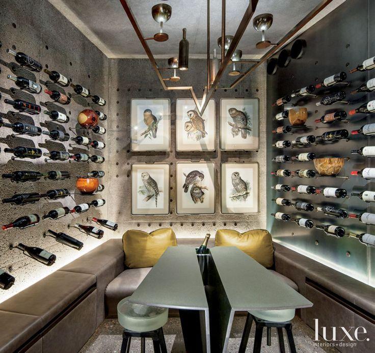 Wine Cellar Design - Wine Room Design - custom-designed by LeavittWeaver, luxury furniture, wine-inspired chandelier, concrete wine cellar