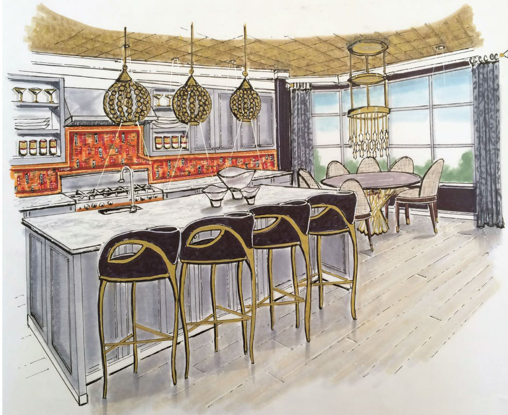 Wired & Inspired Virtual Showhouse by Dering Hall - Rendering by Denise McGaha Interiors - KOKET Allure Dining Table - Chandra Bar Stools - brass stools