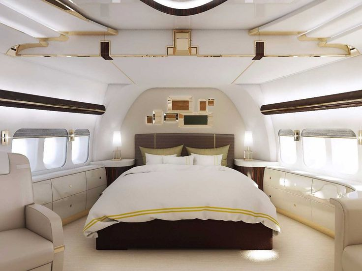 Luxury Private Jet Interiors - Boeing 747-8 - Stunning private jet interior design - private jet bedroom - stateroom interior design