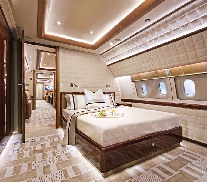 Luxury Private Jet Interiors - Boeing 737 BBJ private jet designed by the renowned Parisian interior designer Alberto Pinto