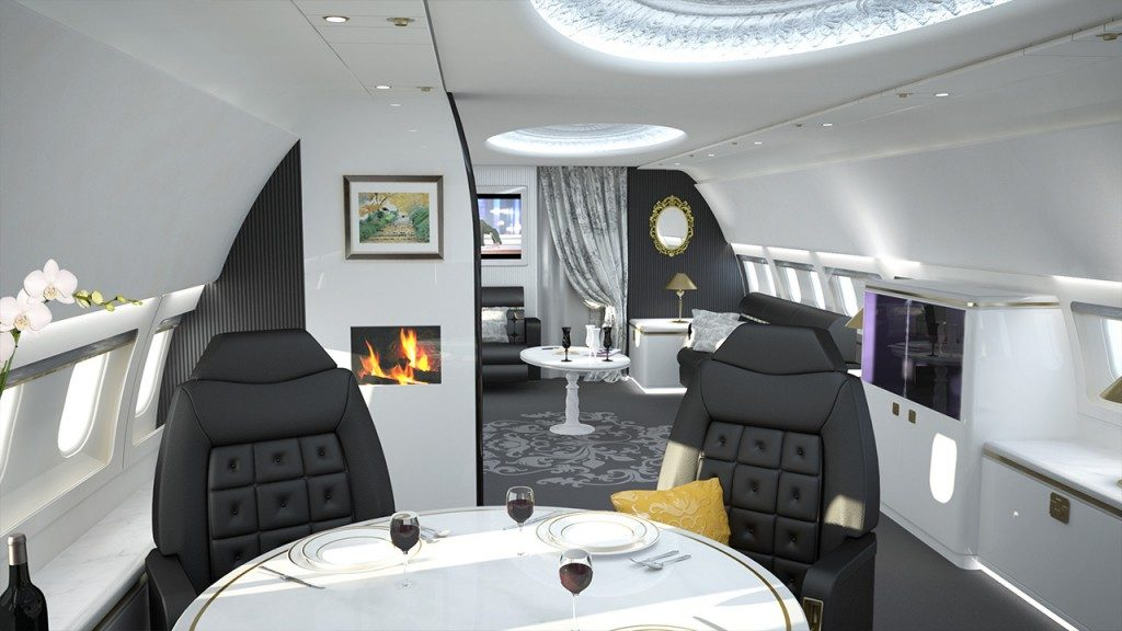 Luxury Private Jet Interior - Luxury Futuristic Interior Private Jet Dining Space Design With Black Tufted Buttoned Dining Chairs And Modern