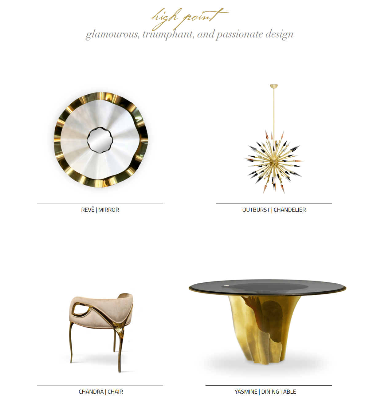 Empowering Luxury Furniture at High Point 2017 by KOKET - upholstered chairs, high-design casegoods, high end furniture, sunburst chandelier - women empowerment - reve mirror, sunburst mirror, gold metal dining chairs, luxury fining table, chandra chair