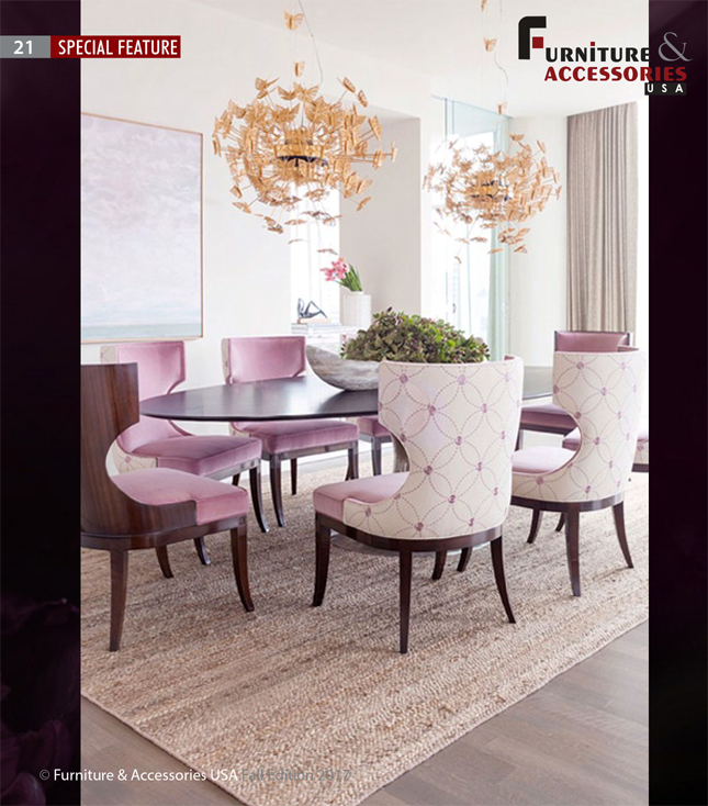 Janet Morais KOKET Love Happens Luxury Furniture Interview with Furniture Accessories USA Magazine Fall 2017 - Interior design by Laura Lee Clark - In the World of Luxury Living - Nymph chandelier - Gold butterflies chandelier - glamorous lighting janet morais An Interview with Janet Morais, the Creative Force Behind KOKET 4