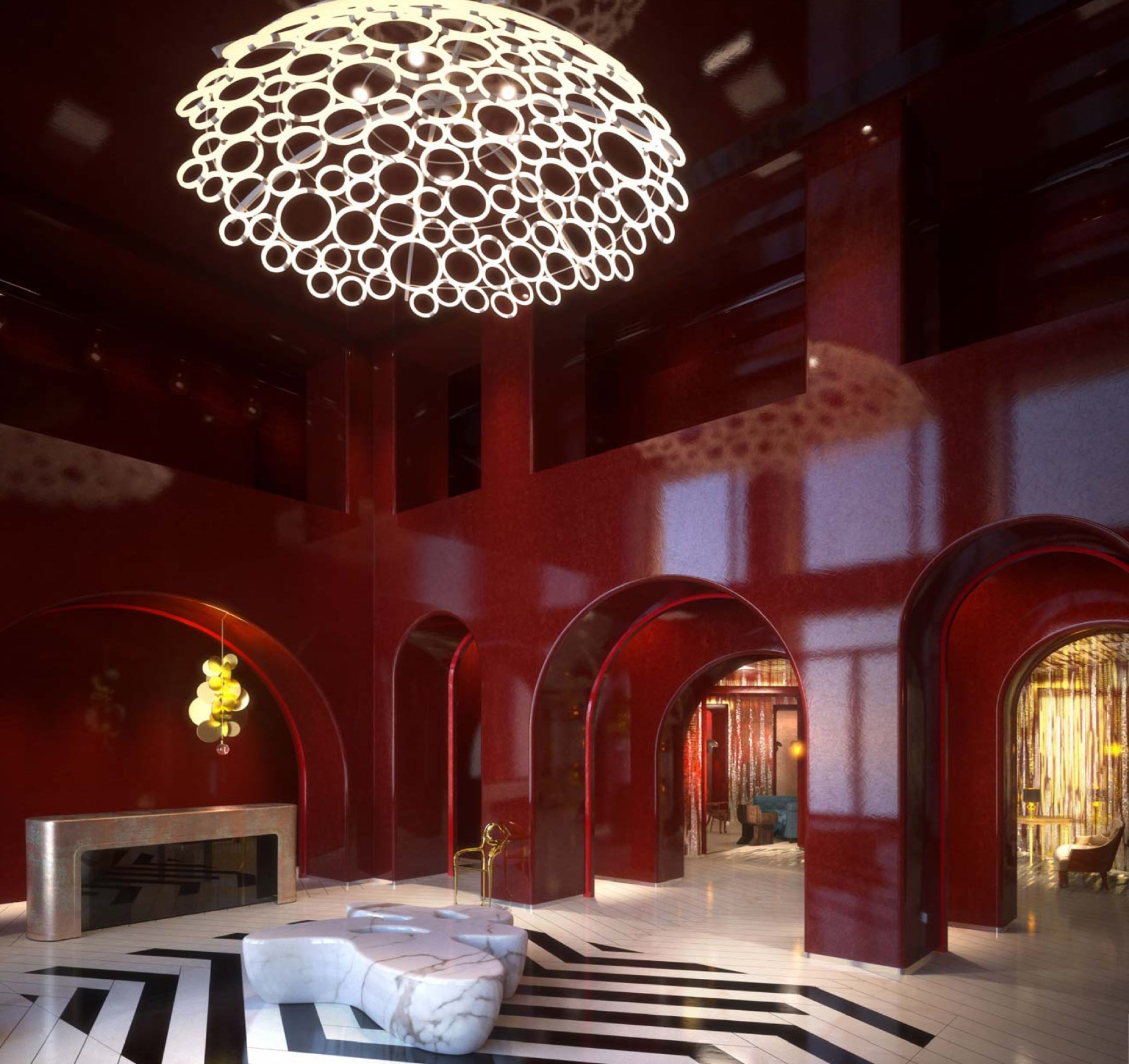 Hotel du Louvre by Tristan Auer Masion & Objet Paris Designer of the Year 2017 - red lacquer walls - red black and white interior design tristan auer Tristan Auer: Maison & Objet 2017 Designer of the Year & Car Tailor 7388e983c4ecabfe9b42b45433ef72b1