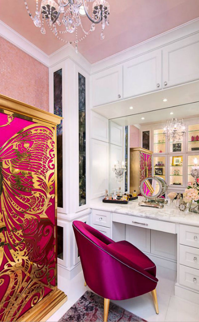 Janet Morais KOKET Love Happens Luxury Furniture Interview with Furniture Accessories USA Magazine Fall 2017 - Interior design by Bravo Interior Design - Nessa chair - Mademoiselle armoire - In the World of Luxury Living - vanity chairs - gold and pink cabinet - vanity area designs janet morais An Interview with Janet Morais, the Creative Force Behind KOKET AAEAAQAAAAAAAAefAAAAJGRkYThkMDFmLWI0ZjUtNDQzMi1hMTViLWNkYTM0OTJhYTE0Yw