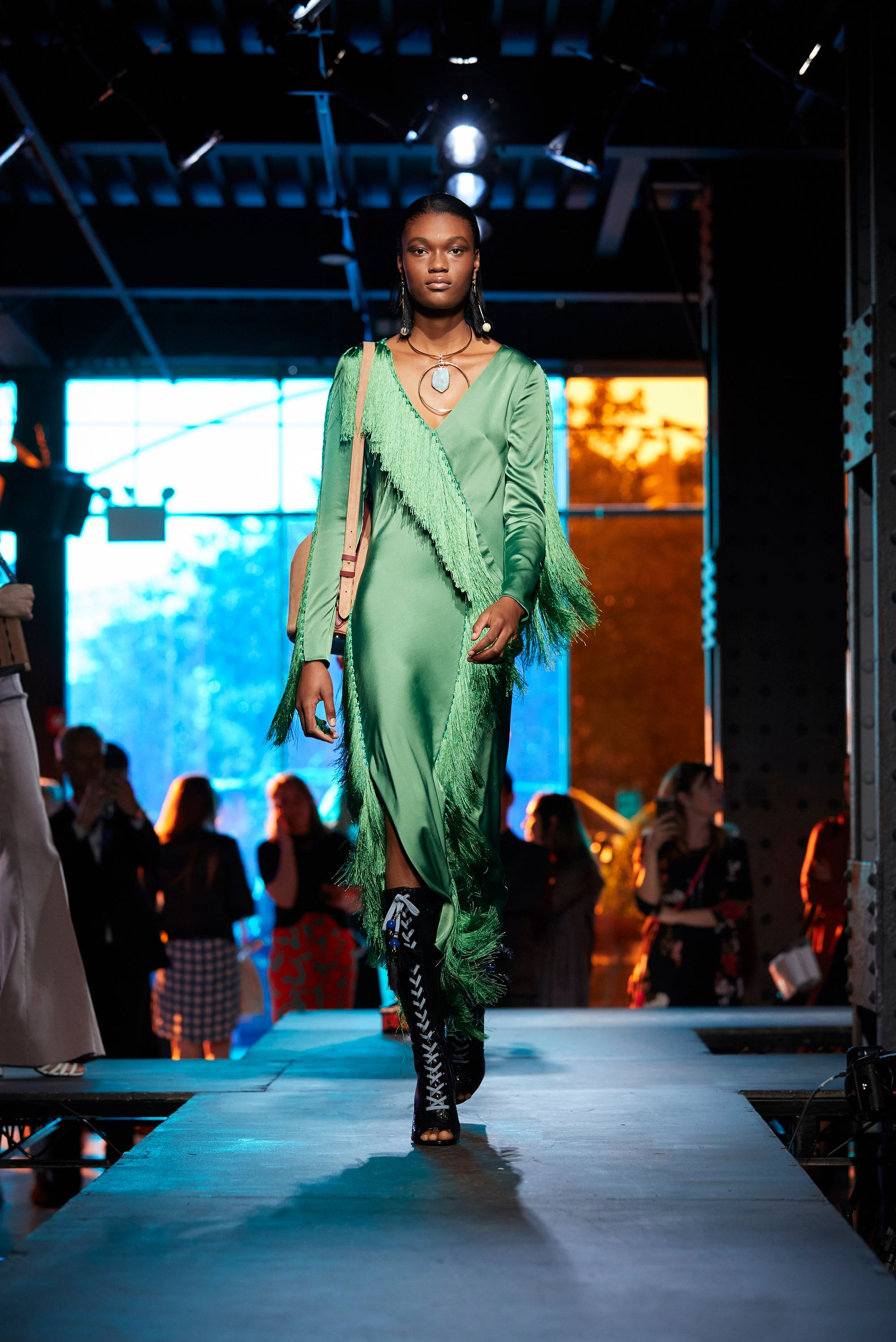 New York Fashion Week 2017 - Diane von Furstenberg Spring 2018 NYFW - green silk dress with fringe - 70s inspired dresses - Jonathan Saunders - v-neck dress - DVF