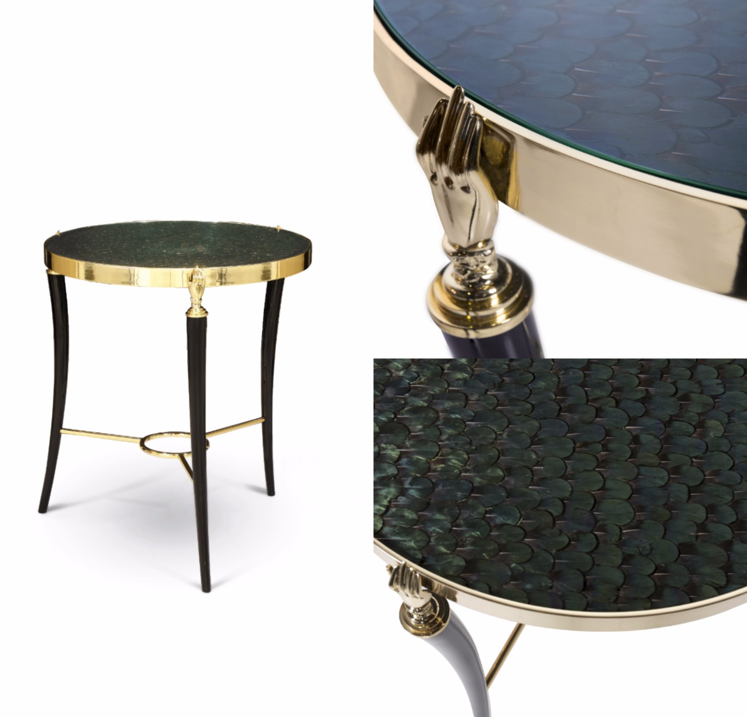 Gisele side table by KOKET at Decorex - luxury side table - brass side table - feather table top - brass hands - luxury furniture