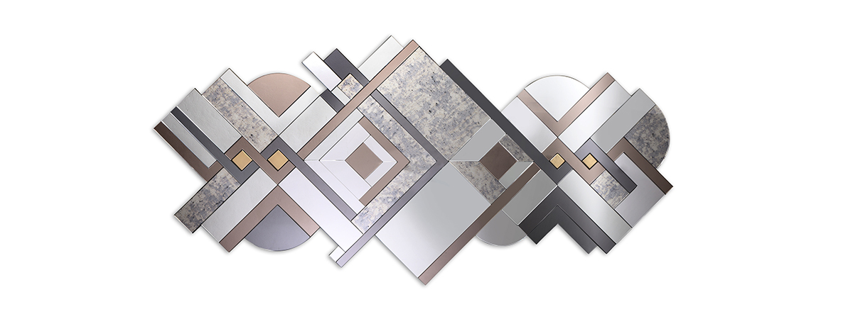 Lemprica Mirror by KOKET at Decorex - art deco mirror - mosaic mirror - geometric mirror - luxury furniture