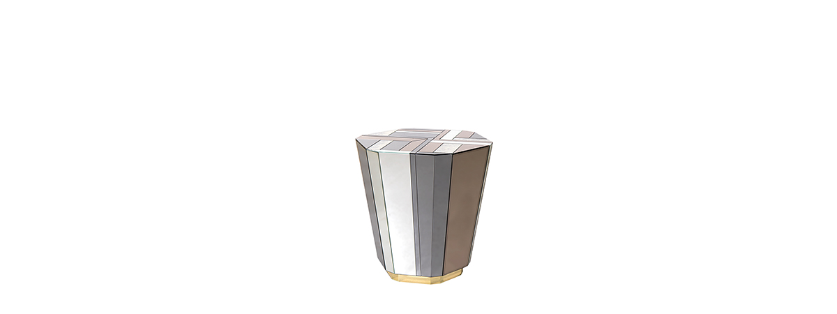 Lemprica side table by KOKET - smoked and bronze mirror side table - geometric mirror side table