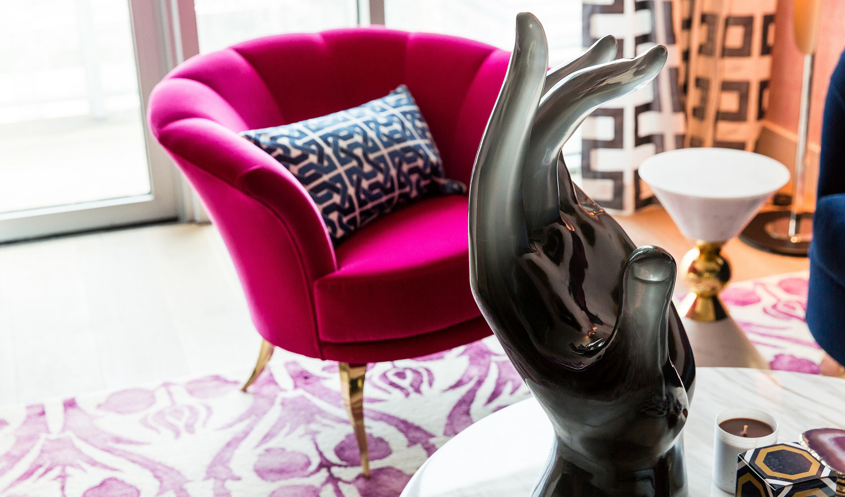Top Interior Designers in Texas - Maureen Stevens Designs - Seaholm Condo Design - KOKET Besame II Chair - Curved back chair - Decorative accent chair - chair with gold legs top interior designers Top Interior Designers: Maureen Stevens Design MSDesigns Seaholm 0020 1