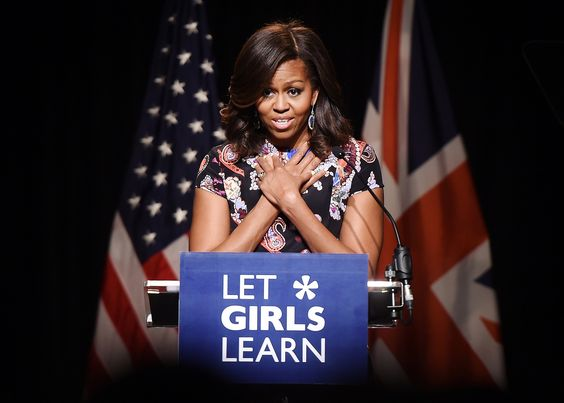 Women Empowerment: Michelle Obama Education - Let Girls Learn - US First Lady Michelle Obama delivers a speech during a visit to Mulberry School for Girls in east London, Britain, 16 June 2015. Obama is on a two day visit to the UK. EPA/ANDY RAIN
