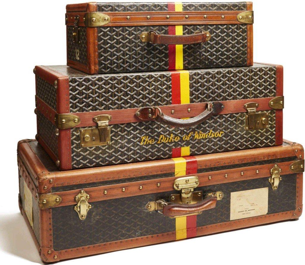 Peabody Essex Museum - Glamour, Speed & Style Exhibit - Midcentury Goyard luggage belonging to the Duke and Duchess of Windsor